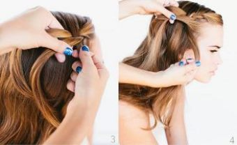 Как заплести красивую косу-водопад шаг 3-4
