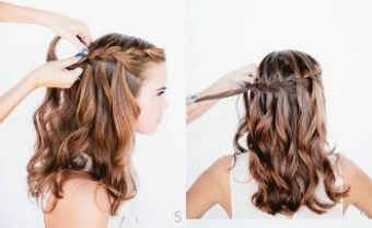 Как заплести красивую косу-водопад шаг 5-6