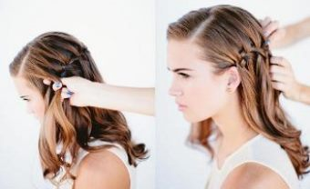 Как заплести красивую косу-водопад шаг 7-8