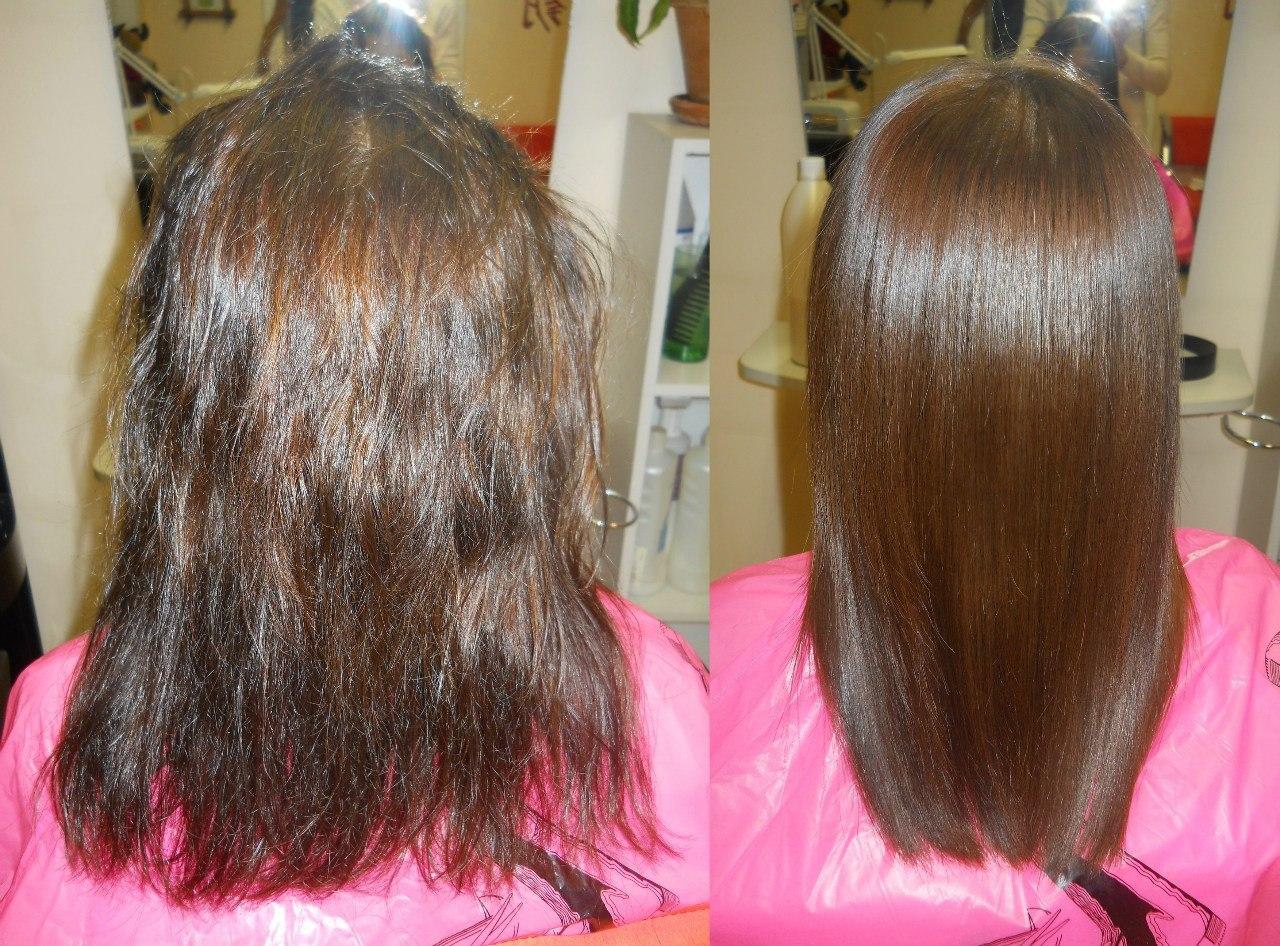 кератиновое выпрямление волос фото до и после1