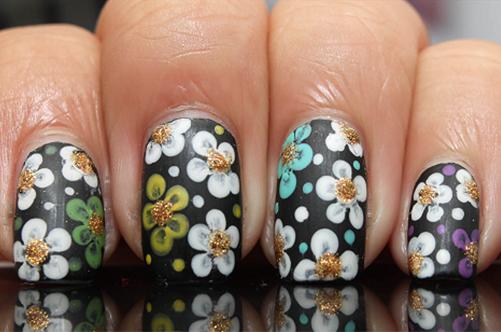 дотс маникюр цветы