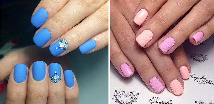 Матовый маникюр розовый и голубой