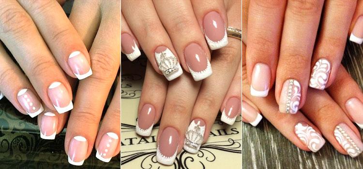 белый френч с рисунком на квадратных ногтях