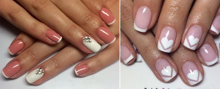 идеи белого френча на короткие ногти с рисунком