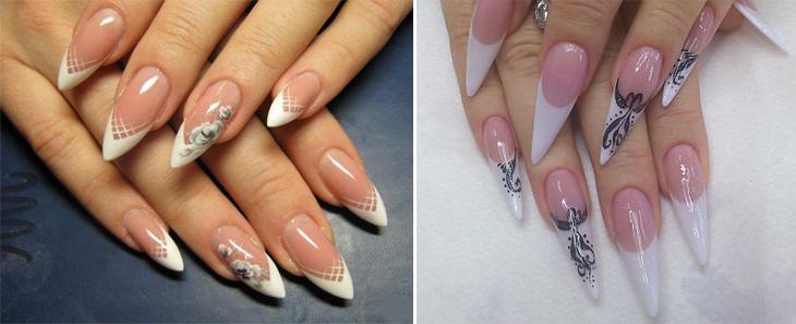 идеи белого френча на острые ногти с рисунком