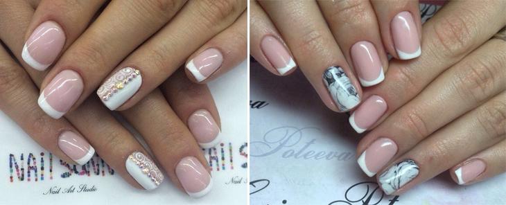 идеи белого френча с рисунком на безымянном пальце