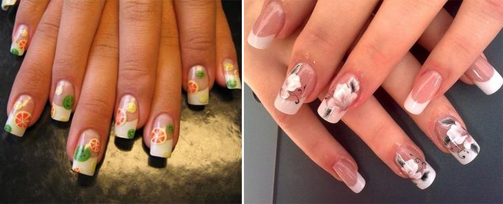 идеи белого френча с рисунком на нарощенных ногтях